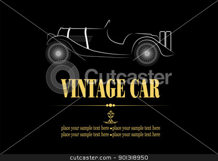 White silhouette of vintage car cabriolet on black background. V stock vector clipart, White silhouette of vintage car cabriolet on black background. Vector illustration by Leonid Dorfman