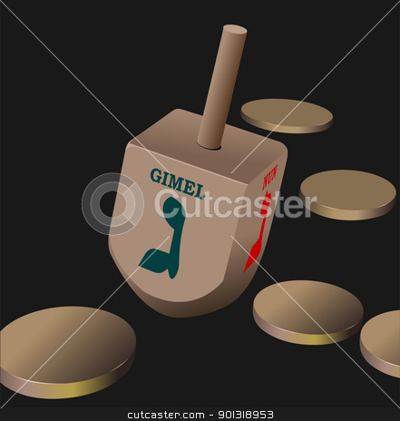 Dreidel  as element of Hanukkah festival. Vector stock vector clipart,  by Leonid Dorfman