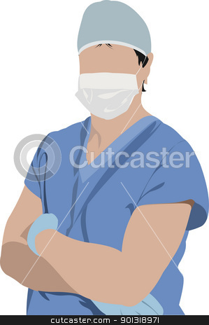 Medical doctor. Surgeon. Vector illustration stock vector clipart, Medical doctor. Surgeon. Vector illustration by Leonid Dorfman