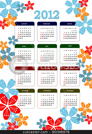 2012 calendar with flower image. Vector illustration  stock vector clipart, 2012 calendar with flower image. Vector illustration  by Leonid Dorfman