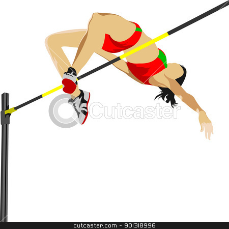 Woman high jumping. Track and field. Vector illustration stock vector clipart, Woman high jumping. Track and field. Vector illustration by Leonid Dorfman