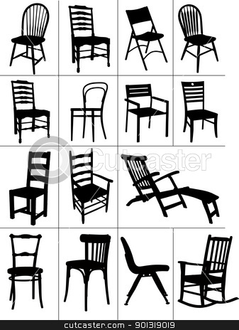 Big set of home chair silhouettes. Vector illustration stock vector clipart, Big set of home chair silhouettes. Vector illustration by Leonid Dorfman