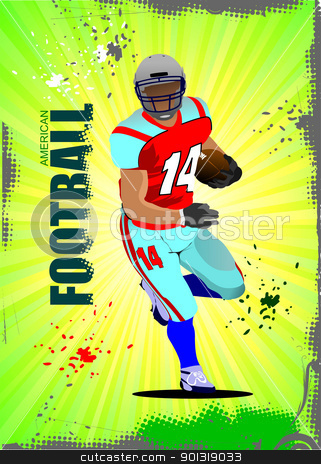 American football sport postes. Vector illustration stock vector clipart, American football sport postes. Vector illustration by Leonid Dorfman