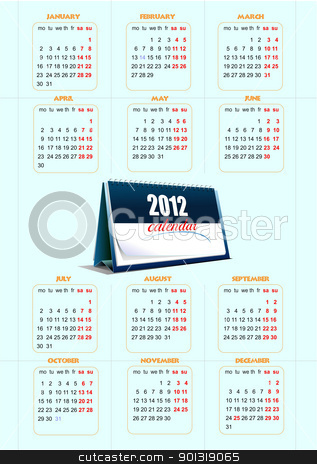 2012 calendar. Vector illustration  stock vector clipart, 2012 calendar. Vector illustration  by Leonid Dorfman
