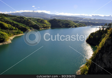 Lake in mountains stock photo, Lake in mountains by freeteo