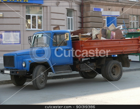 Russian truck in the street stock photo, Russian truck in the street by Stoyanov
