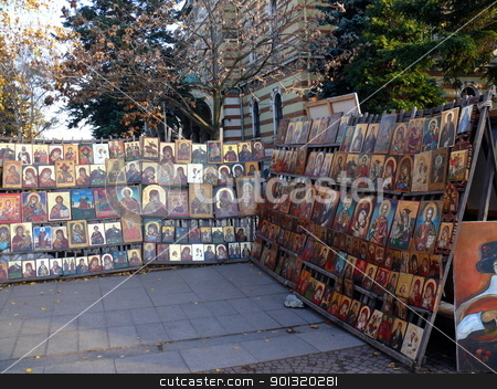 Street trading Icons. Sofia. Bulgaria stock photo, Street trading Icons. Sofia. Bulgaria by Stoyanov