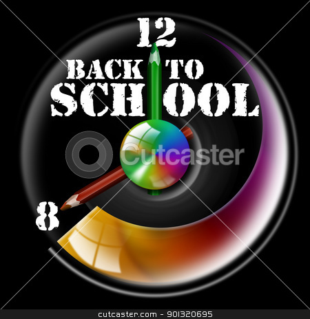 Back to school stock photo, Clock Illustration with hands shaped like pencils and written back to school by catalby