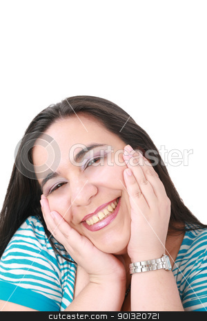 happy young woman smiling, isolated over white background
