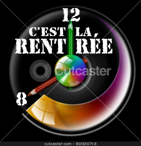 C'est la rentrée stock photo, Clock Illustration with hands shaped like pencils and written