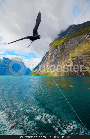 View of Geiranger stock photo, The Geiranger fjord in Norway, surrounded by high mountains by Kjersti Jorgensen
