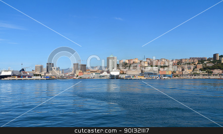 Genoa cityscape, Italy stock photo, Cityscape of Genova from the sea, Italy by ANTONIO SCARPI