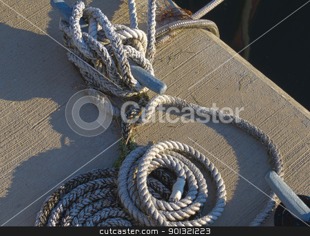 HDR dock lines and cleat stock photo, HDR photo image of dock lines and cleat by P.J. Lalli