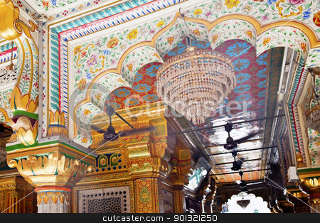 Mosaics Designs Nizamuddin Complex Mosque Interior New Delhi Ind stock photo, Mosaics Designs Nizamuddin Complex Mosque New Delhi India Grave of the Islamic Sufti Saint Sheikh Hazrat Nizamuddin Auliya, famous Sufti mystic died in 1325  by William Perry