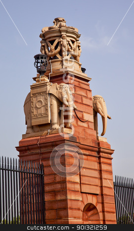 Stone Elephants Rashtrapati Bhavan Gate Official Residence Presi stock photo, Stone Elephants Rashtrapati Bhavan Gate Official Residence President New Delhi India Designed by Edwin Lutyens and completed in 1931 by William Perry