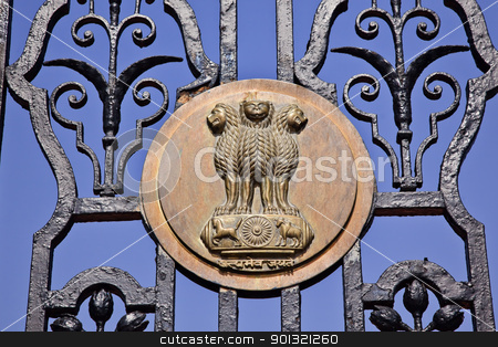 Indian Four Lions Emblem Rashtrapati Bhavan The Iron Gates Offic stock photo, Indian Four Lions Emblem Rashtrapati Bhavan Gate The Iron Gates Official Residence President New Delhi India Lions from Ashoka Emperor Symbolize Power Courage Pride and Confidence by William Perry