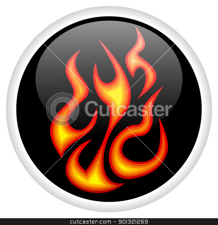 On Fire! stock vector clipart, On Fire burning shiny button. by wingedcats