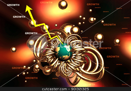 Abstract globe and graph  stock photo, 	3d rendering of abstract globe and graph in digital background	 by dileep