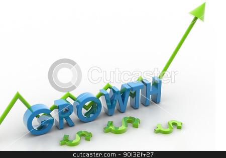 Growth and arrow  stock photo, 	Digital illustration of growth and arrow shows business growth  by dileep