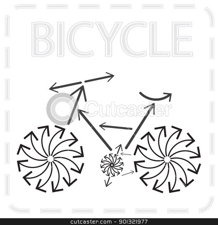 arrowed bike stock vector clipart, Bicycle from arrows. Abstract illustration.  by antkevyv