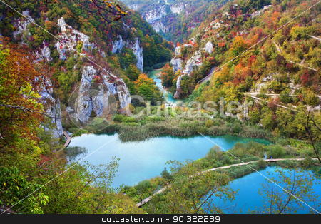 Valley Landscape in Fall stock photo, Scenic fall valley landscape in the mountains of Plitvice Lakes National Park, Croatia by Rognar