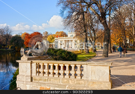 Lazienki Park in Warsaw stock photo, Lazienki Park in autumn with Palace on the Water in Warsaw, Poland by Rognar