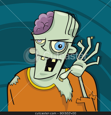 cartoon zombie stock vector clipart, cartoon illustration of funny zombie by Igor Zakowski