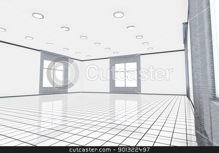 Empty Office stock photo, A empty office interior. 3D rendered Illustration.  by Michael Osterrieder