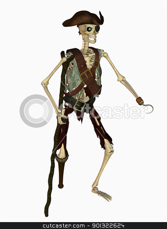 undead pirate stock photo, 3d render of a undead pirate by ancello