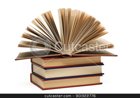 Books. stock photo, OLd books isolated over a white background. by angelsimon
