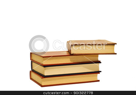 Old books. stock photo, OLd books isolated over a white background. by angelsimon