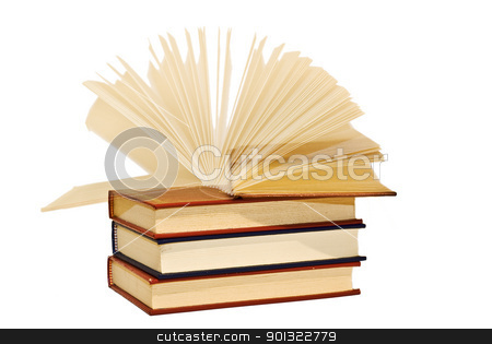 Book opening itself. stock photo, OLd books isolated over a white background. by angelsimon