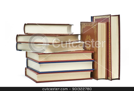 Eight books. stock photo, OLd books isolated over a white background. by angelsimon