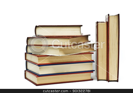 Eight books over white. stock photo, OLd books isolated over a white background. by angelsimon