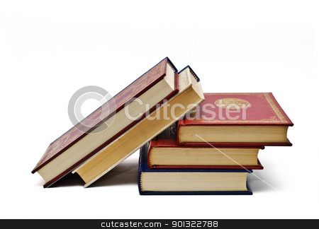 Five books. stock photo, OLd books isolated over a white background. by angelsimon