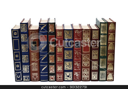 Books collection. stock photo, OLd books isolated over a white background. by angelsimon