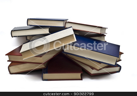 Messy books. stock photo, OLd books isolated over a white background. by angelsimon