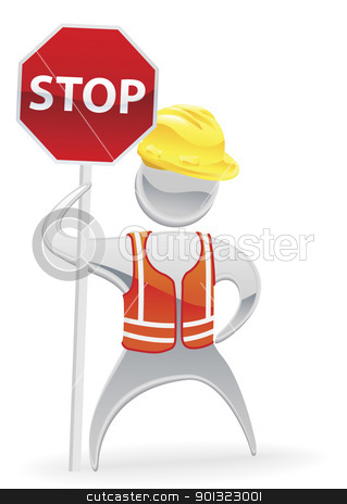 Stop sign metallic man concept stock vector clipart, Metallic cartoon mascot character stop sign workman concept by Christos Georghiou