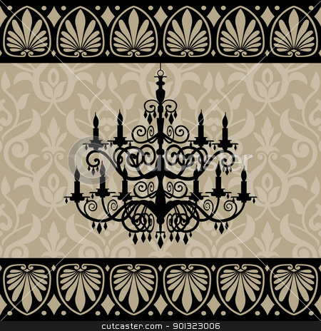 Vintage Chandelier stock vector clipart, Vintage chandelier silhouette and antique border on background, vector illustration by Ela Kwasniewski