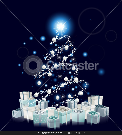 Modern Style Blue Christmas tree stock vector clipart, Modern style Christmas tree design. Blue and silver Christmas tree with baubles and gifts.  by Christos Georghiou