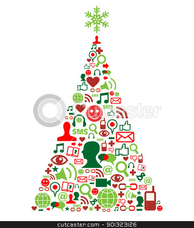 Christmas tree with social media icons stock vector clipart, Christmas tree shape made with social media icons set, by Cienpies Design