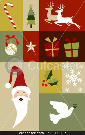 Christmas decoration set  stock vector clipart, Christmas design elements  by Cienpies Design