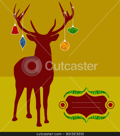 Christmas reindeer silhouette greeting card stock vector clipart, Christmas reindeer silhouette with decorations hanged from its antlers over mustard background. Ready for use as postage greeting card. by Cienpies Design