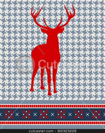 Christmas reindeer seamless pattern stock vector clipart, Christmas reindeer silhouette on vintage seamless pattern background. Vector illustration. by Cienpies Design