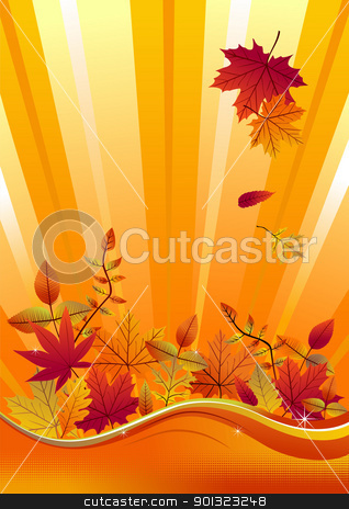 Autumn season background stock vector clipart, Fall leaves on a vertical yellow background. Vector available by Cienpies Design