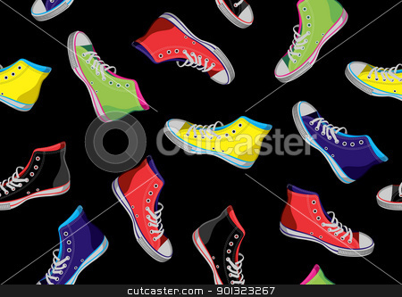 Teenager sneakers pattern. stock vector clipart, Colourful sneakers on black background.