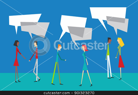 Social couple balloon interaction stock vector clipart, Social community people interaction with speech balloon concept by Cienpies Design
