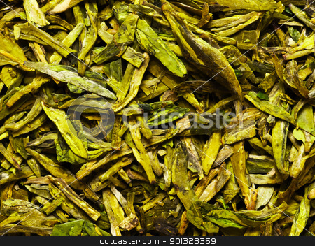 chinese tea leaves stock photo, close up of dried chinese tea leaves by zkruger
