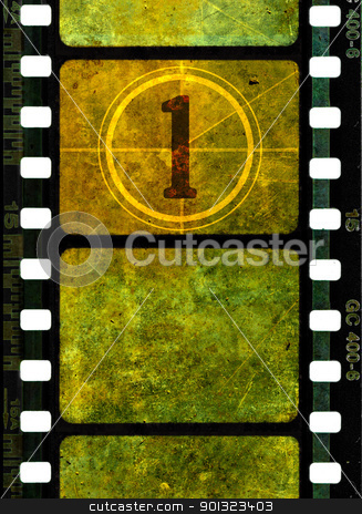 Vintage 35mm movie film reel stock photo, Vintage 35mm film reel, colorful grunge textured film frames and a number one in countdown by AGcuesta