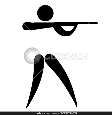 Shooting sign stock photo, Black silhouetted shooting sign or symbol; isolated on white background. by Martin Crowdy